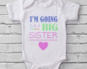 Im Going to be a Big Sister Pink Heart baby grow bodysuit onesie baby shower gift