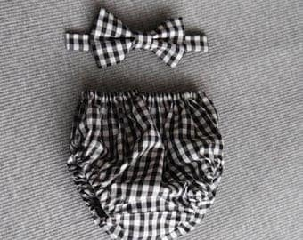 Boys Black Gingham Cake Smash Outfit