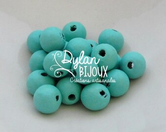 20 green wooden beads of water ⌀ 10 mm