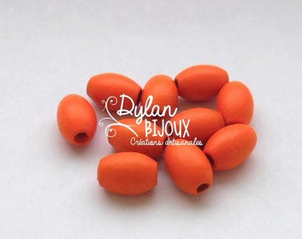 10 oval wooden beads / olive Orange 10 x 16 mm
