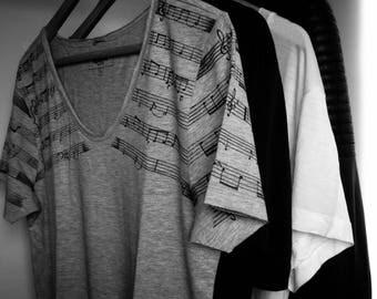 t shirt v-neck man sheet music
