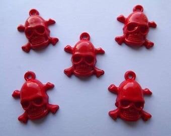 Charm skull red acrylic (x 5)