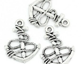 (X 4) silver metal anchor pendant/charm