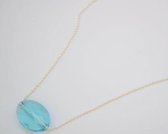 Blue woman with oval Swarovski Bead Necklace