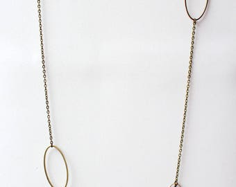 Long oval and Pearl - silver metal