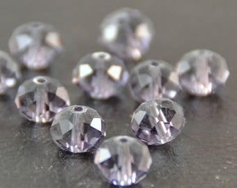 """X 30 large pearls """"plump faceted"""", lilac, 1 x 0.7 cm"""