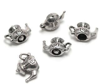 "10 charms has ""teapots 3 D"", 14 x 18 x 9 mm, silver, 001"