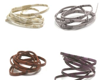 """1 m + 1 m (free) """"overlay"""" 5 mm flat leather cord colors available"""