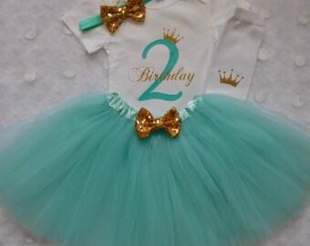2nd Birthday Outfit...Aqua Tutu...Four Piece Set...Birthday Outfit...Little Girl Birthday...Cake Smash Outfit...Two Year Old Birthday