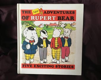 FREE POSTAGE * RARE * the new adventures of Rupert Bear five exciting stories vintage childrens book 1987 retro Len Collis