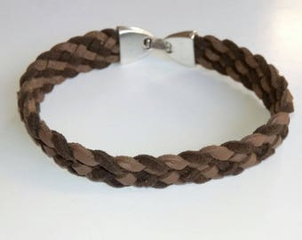 Two-tone Brown braided Suede, metal clasp bracelet