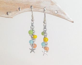 Starfish and multicolored glass beads earrings