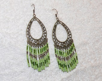 Lime green seed beads earring