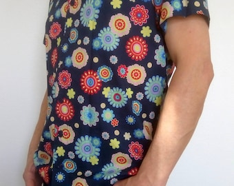 Vintage shirt. Blue fabric with multicolored flowers