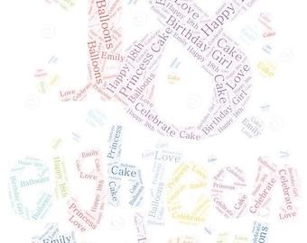 18th/ 21st Birthday Word Art