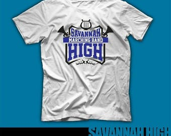 Savannah High Blue Jackets Pride High School Spirit Wear Band Tshirt Blue White Band Gear Pep Rally Grad Jazz Concert Marching Band Gift GA
