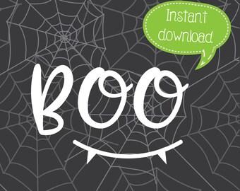Boo SVG, Halloween SVG, Cricut Cut File, Silhouette File