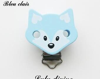 Clip / buckle, wooden pacifier Clip, Fox: light blue