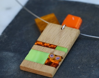 Rectangular pendant made of wood and glass mosaic and millefiori