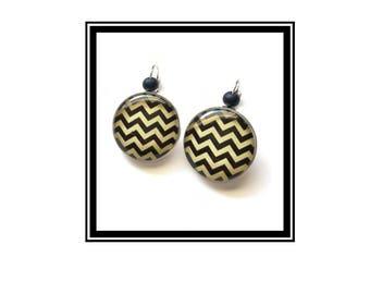 "Original & unique earrings ""Black ' n Gold"" black gold Love Black Gold chevron geometry"