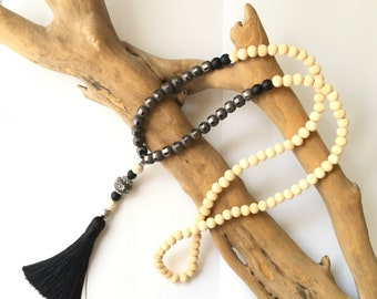 Black tassel Mala necklace & glass beads / boho necklace Natural zen stone lass brown wood beads black tassel buddha