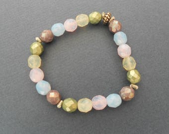 Multicolour, pastel beads stretchy bracelet, elasticated beaded bracelet.