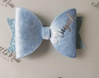 Light Blue Velvet Personalised Bow