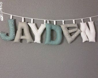 name to 6 letters mint white and gray to customize theme Garland