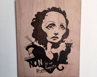 Edith Piaf, Moulin Rouge and the black cat in pyrography on wood, a good souvenir from Paris
