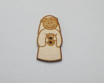 """5 buttons King """"Balthazar"""" mage wooden 2.5 cm - wise decorative wooden button - set of 5 buttons of maple wood King mage """"Balthazar"""""""