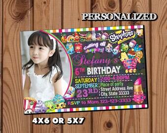Shopkins Invitation,Shopkins Birthday Invitation,Shopkins,Girl Invitation,Birthday Invitation,Photo Invitation,Shopkins Birthday Party