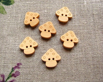 6 buttons in the Woods natural - MUSHROOMS - 18x17mm