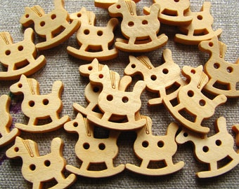 6 17mm rocking horse natural wooden buttons
