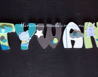 Decorated wooden name and personalized t