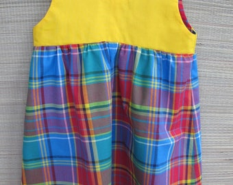 girl in blue and cotton madras tunic dress yellow 2 years