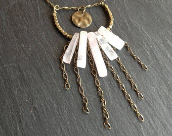 This boho necklace rose quartz
