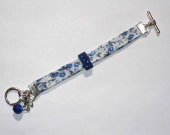 Kit blue floral fabric and Swarovski rhinestones hair clip