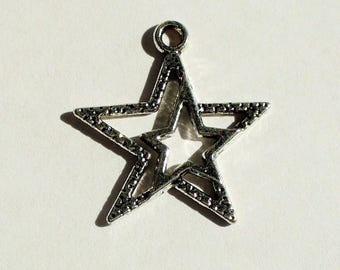 1 double charm silver 23mm MB297 star