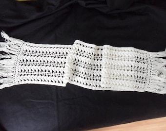 hand-made white cotton crochet table runner