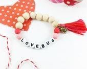 Love Bug Valentine Bracelet, Valentine's Day, Valentine Gift, Girl Gift, Pink, Red, Ladybug