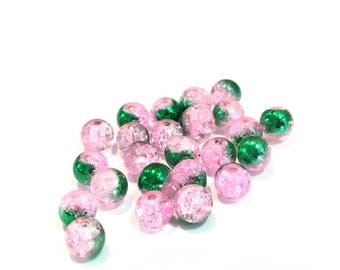 Glass Crackle bicolor pink green 6mm ❤ ❤ X 10 beads