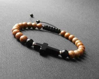 Wood Jasper natural stone mens bracelet with onyx cross