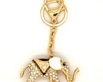 diamante elephant bag charm/keyring