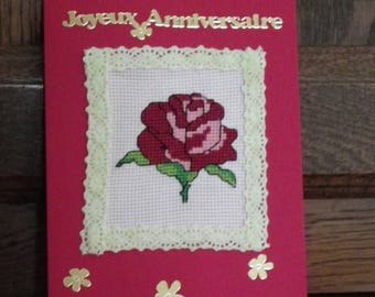 "embroidered ""happy birthday"" greeting card"
