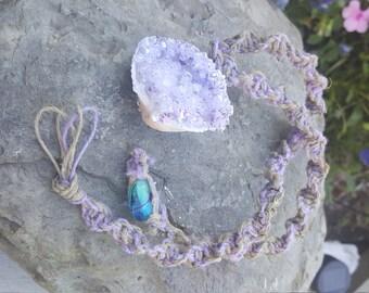 Crystallized Seashell Hemp Necklace (purple)