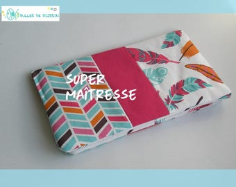 "teacher gift checkbook wallet ""feathers and Chevron"""