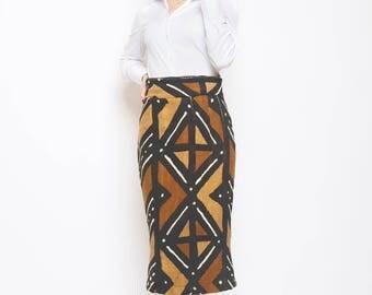 Bogolan high waist pencil skirt