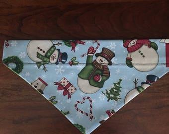 Christmas Snowman Dog Bandana (reversible, collar slides through)