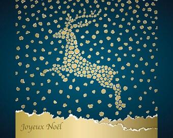 SET of TABLE design Christmas, original, plastic, washable and durable - Decoration - Golden deer on a blue background.