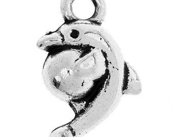10 10x10mm Dolphin charm